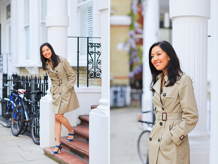 portrait street fashion photo shoot london kensington denim dress trench