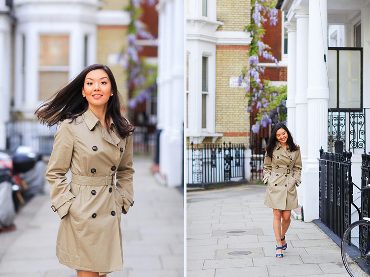portrait street fashion photo shoot london kensington denim dress trench (1)