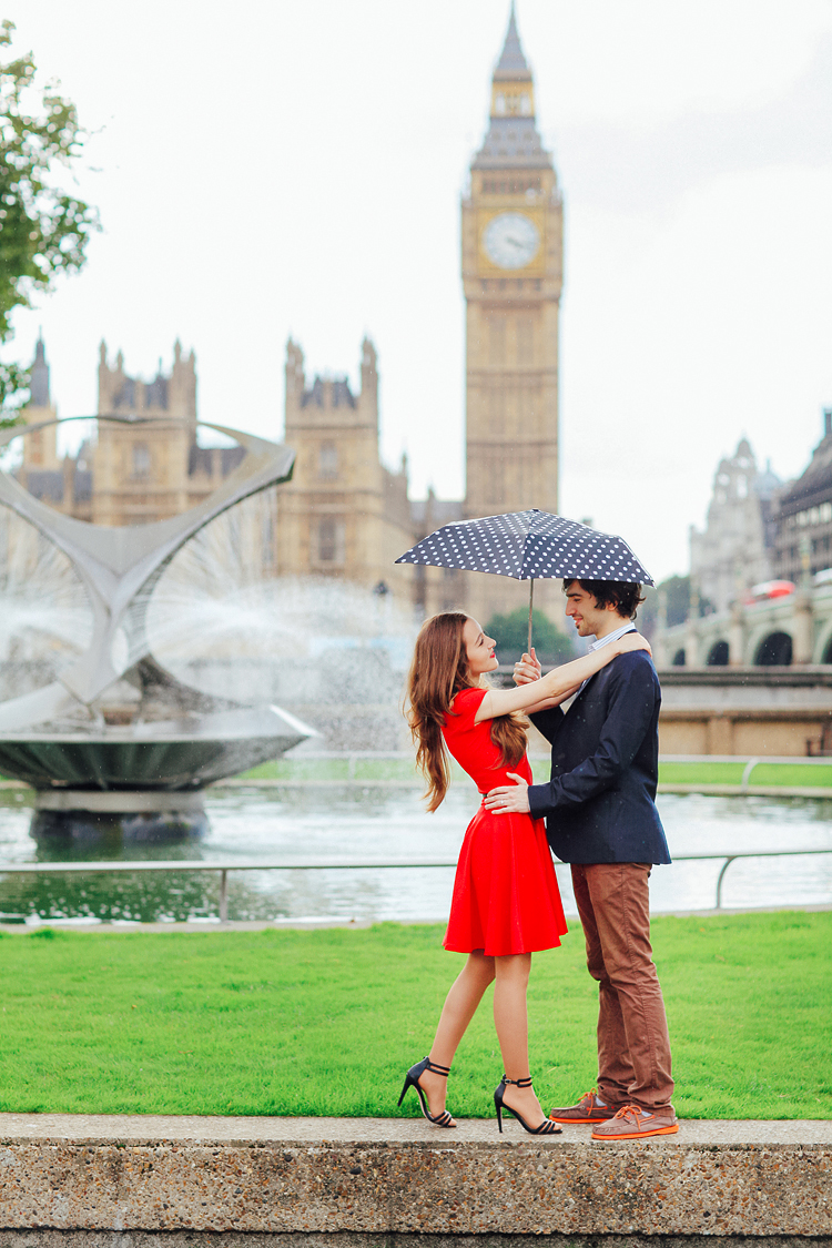 couples engagement pre wedding London photo shoot love story Big Ben Westminster red dress romantic (2)