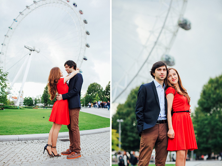 couples engagement pre wedding London photo shoot love story Big Ben Westminster red dress romantic