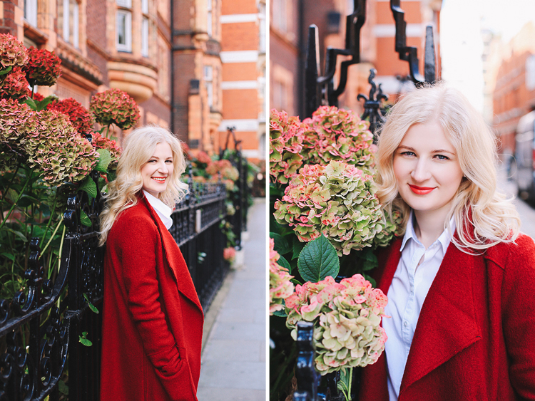 Autumn fall fashion portrait photo shoot Kensington Kynance mews London red coat skirt blond (1)