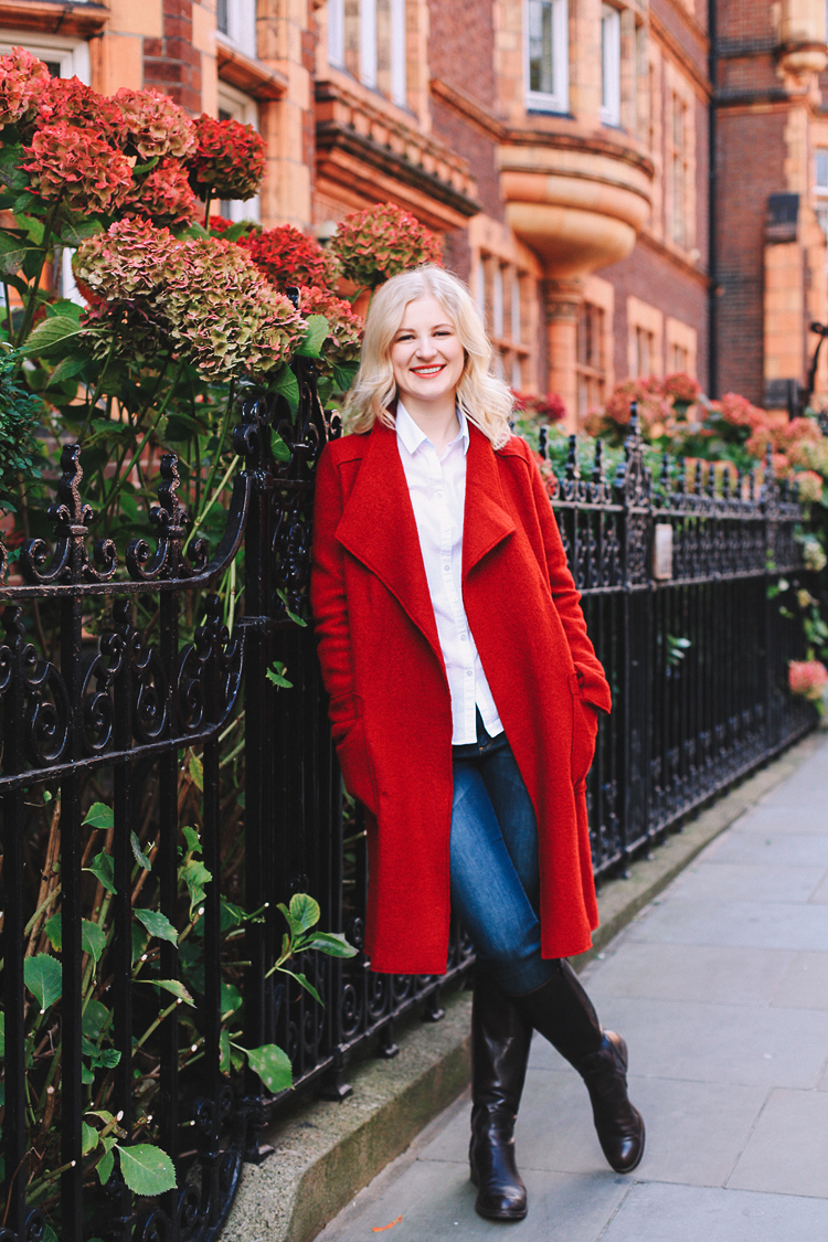 Autumn fall fashion portrait photo shoot Kensington Kynance mews London red coat skirt blond