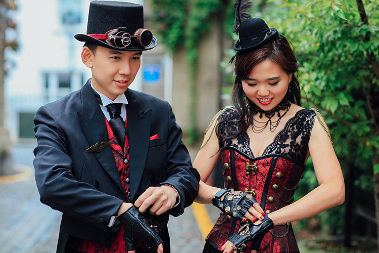 london engagement cosplay pre wedding vintage fantasy autumn photo shoot kynance mews kensington