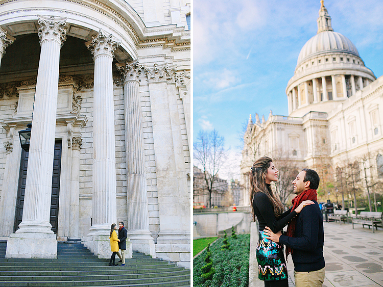 st pauls cathedral millenium bridge engagement couples photo shoot winter (1)