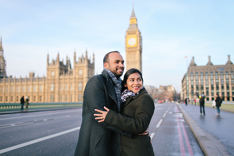 winter London outdoor couples Valentines day photo shoot engagement Westminster Big Ben tower Bridge (1)