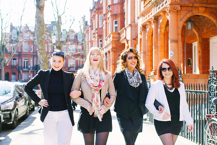 friends girls party outdoor London photo shoot chelsea kings road portrait spring