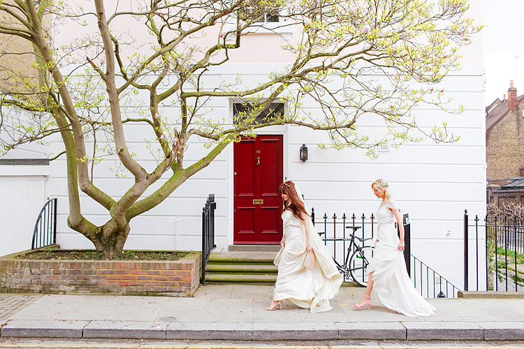 belle and bunty spring bridal fashion london wedding dress vintage outdoor photo shoot cherry blossom bride dune shoes editorial (2)