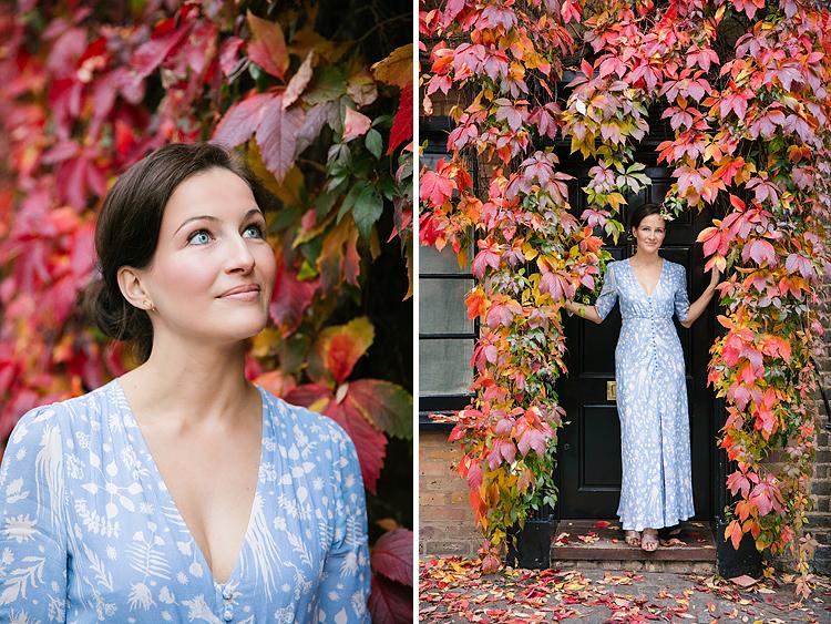 portrait autumn photo shoot london kensington fall red leaves (2)