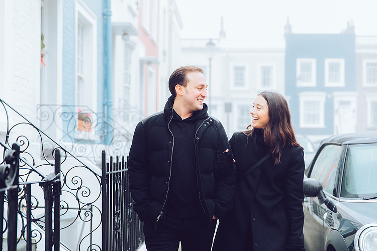 winter christmas couples engagement photo shoot London notting hill fog
