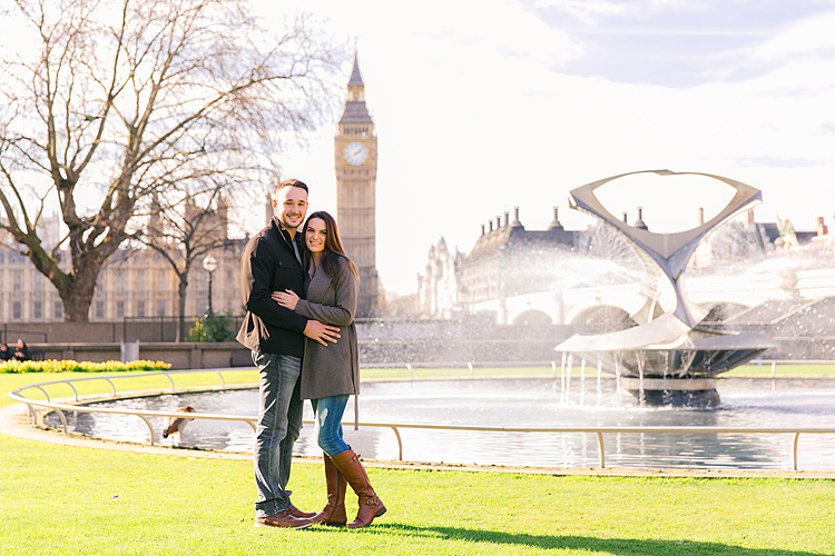 couples photo shoot in London Westminster Big Ben spring engagement photographer