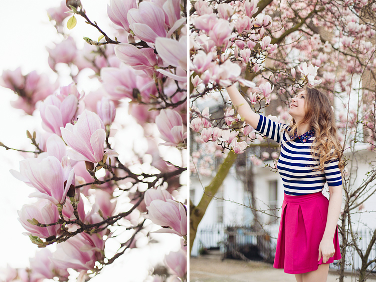 London portrait lifestyle fashion spring pink magnolia blooming photo shoot cute tulips long hair pretty girl (1)