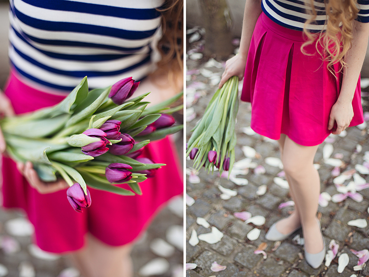 London portrait lifestyle fashion spring pink magnolia blooming photo shoot cute tulips long hair pretty girl (3)