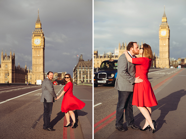 couple love story anniversary photo shoot London Westminster Bridge Red telephone box Big Ben (1)