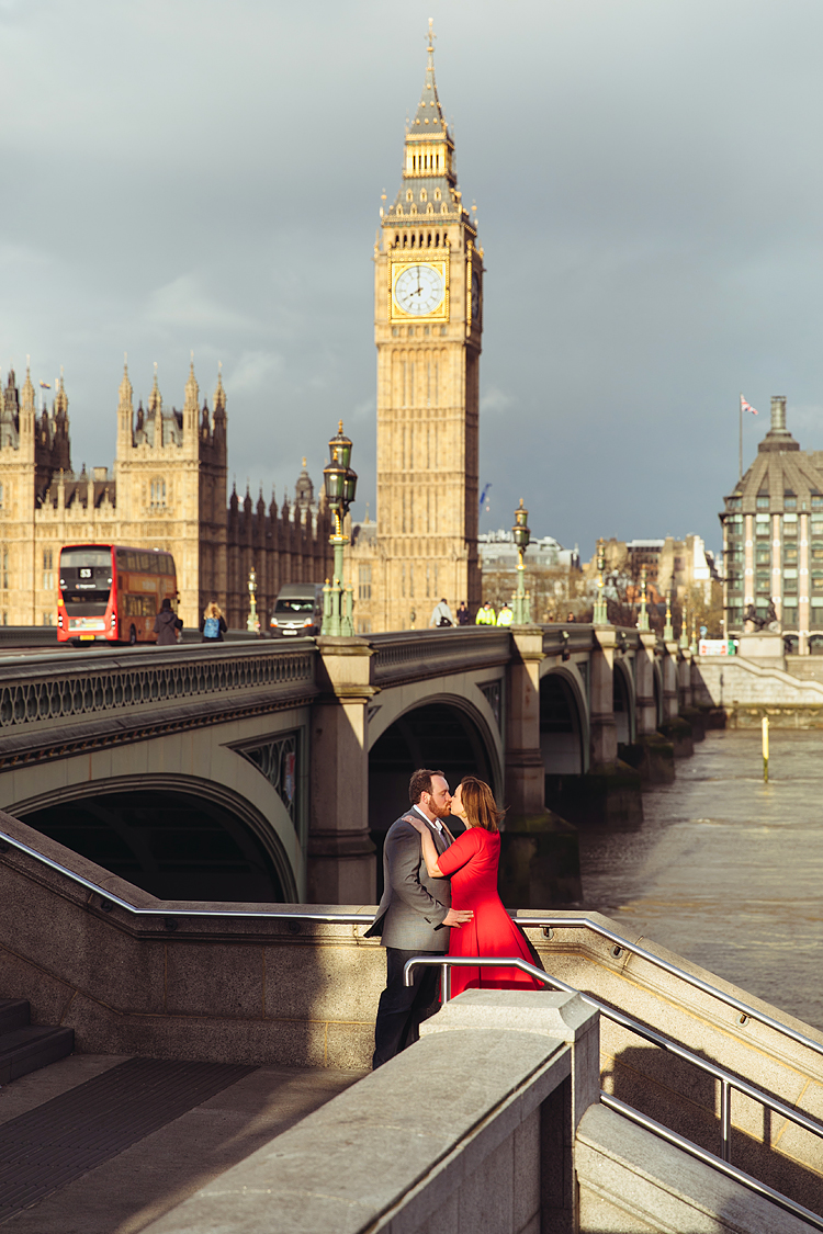 couple love story anniversary photo shoot London Westminster Bridge Red telephone box Big Ben