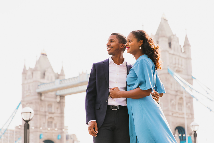 couples anniversary engagement photo shoot London Tower Bridge summer